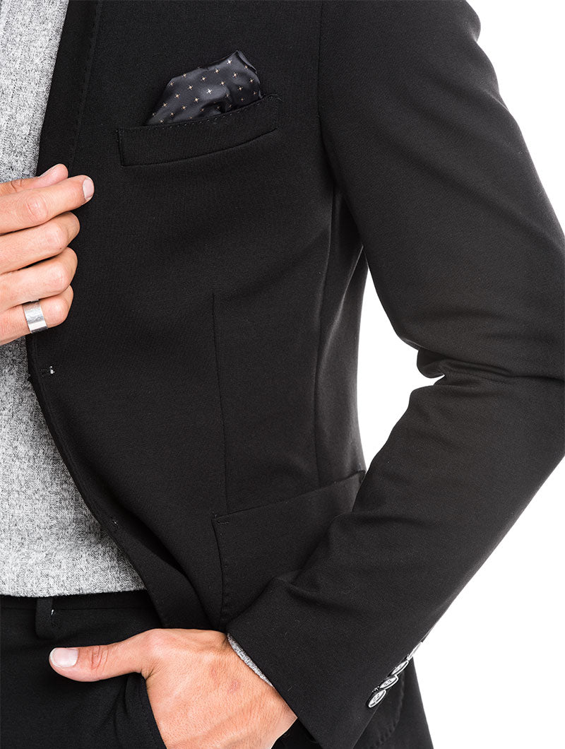 MEN'S CLOTHING | CORK POCHETTE BLAZER IN BLACK | NOHOW STREET COUTURE