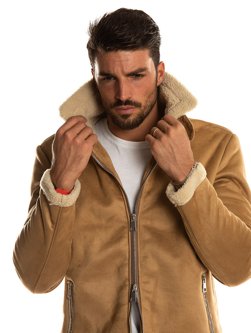 YUKON SHEARLING JACKET IN CAMEL