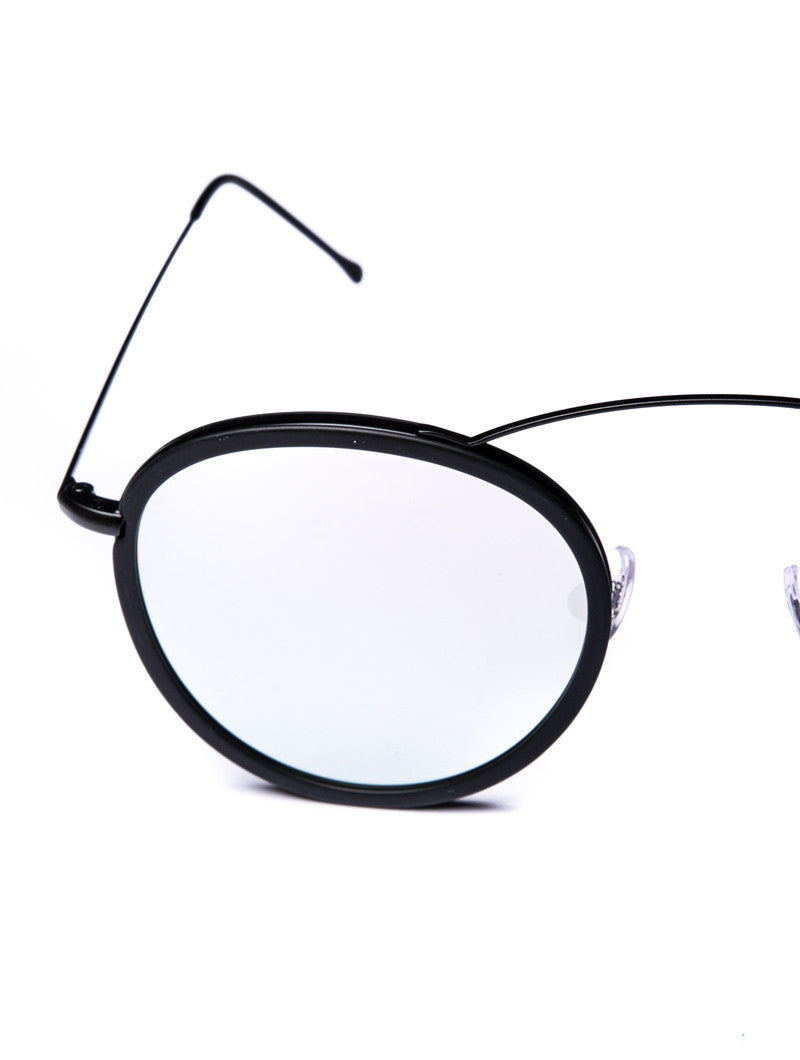 SUNGLASSES | METRO FLAT BLACK SILVER MIRROR SUNGLASSES | SPEKTRE