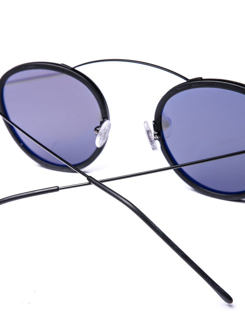 METRO FLAT BLACK SILVER MIRROR SUNGLASSES