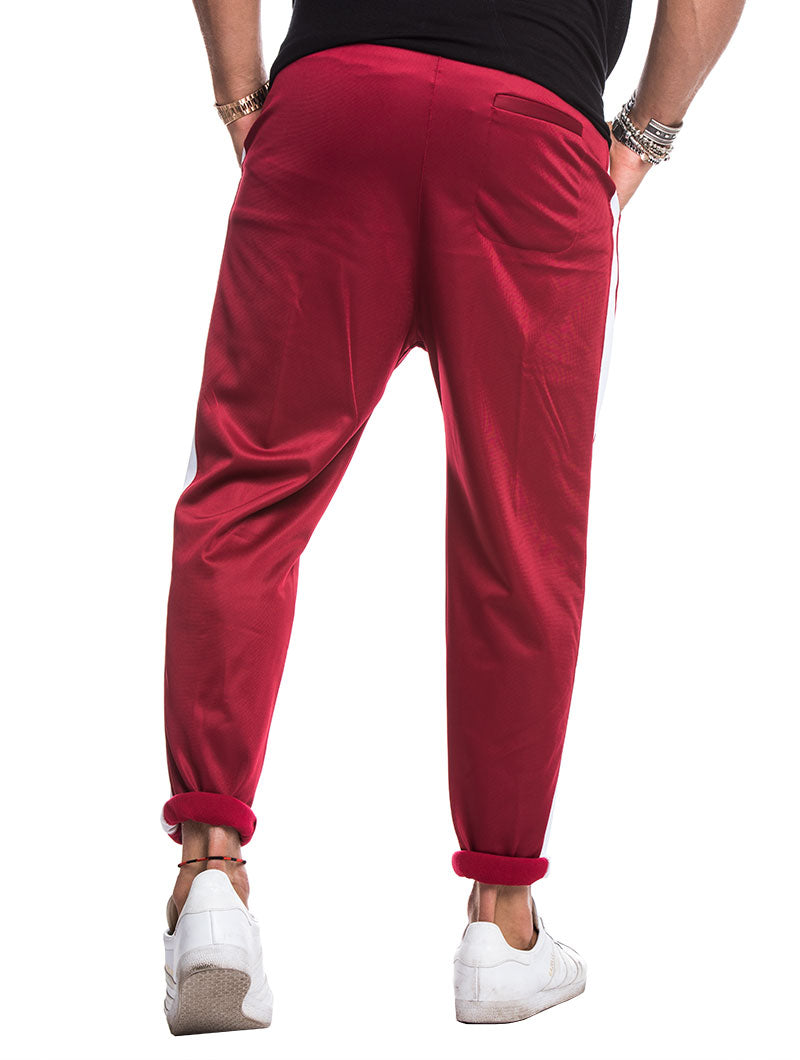 TECH TROUSERS IN BORDEAUX AND WHITE