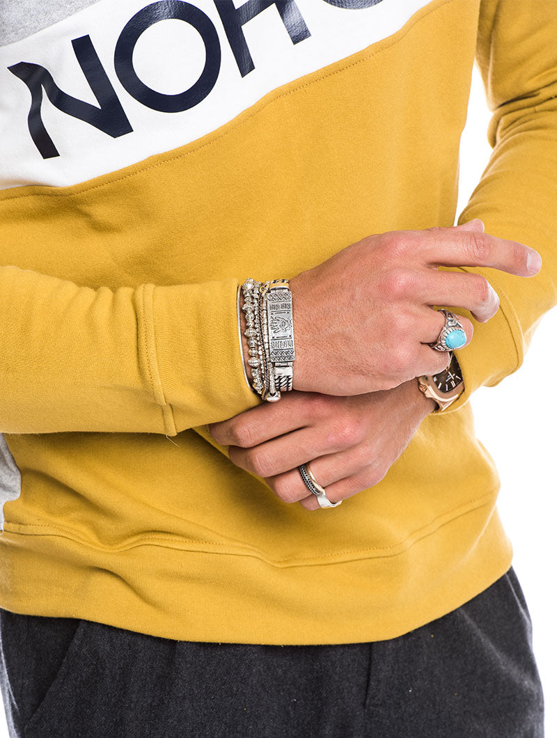 MEN'S CLOTHING | COLOR BLOCK STRIPE SWEATSHIRT IN MUSTARD AND GREY | SLIM-FIT | NOHOW