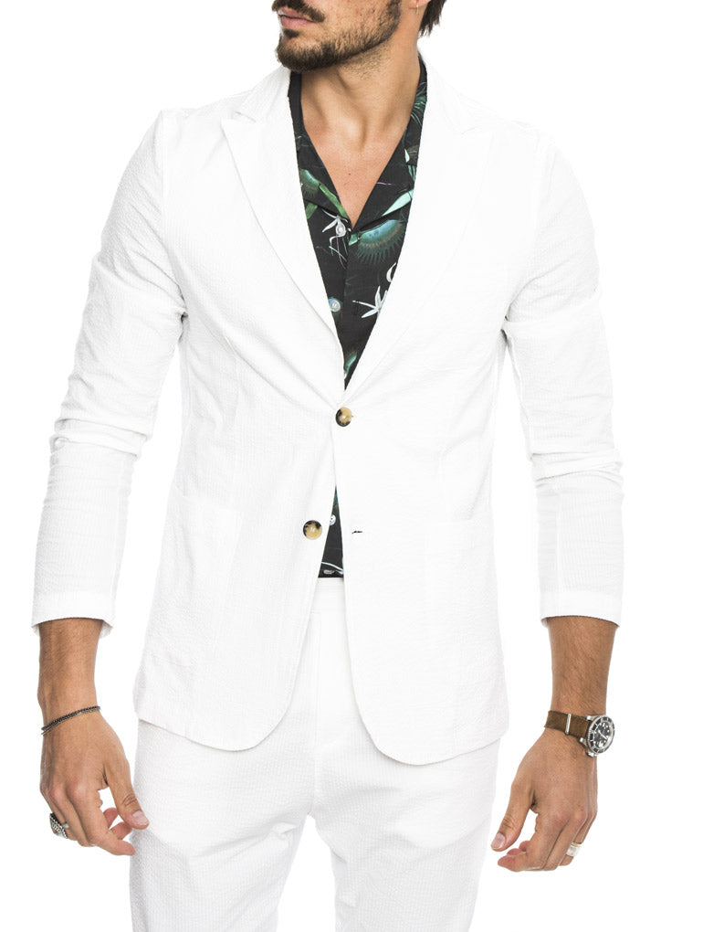 DUBAI SEERSUCKER BLAZER IN WHITE