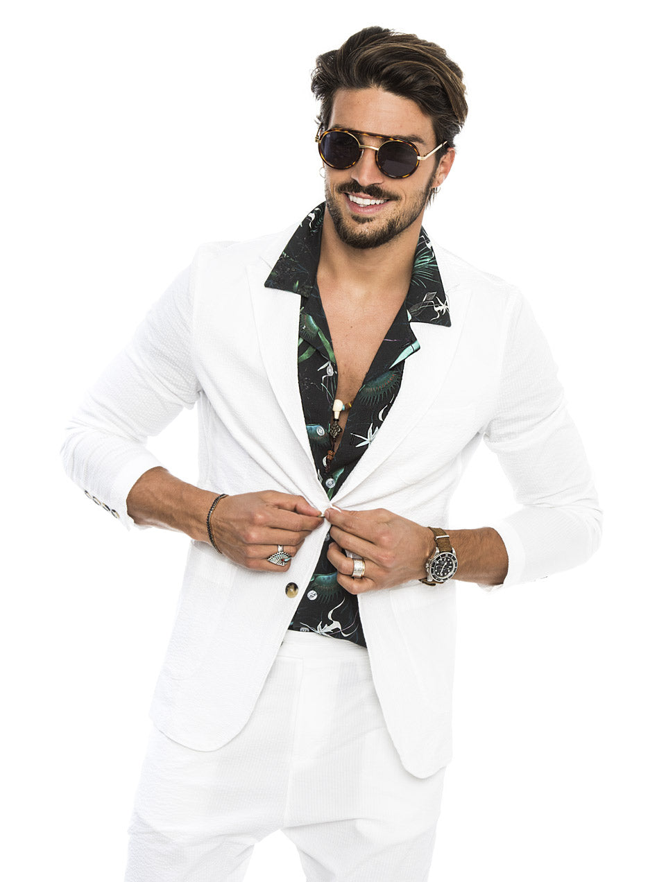 DUBAI SEERSUCKER SUIT IN WHITE