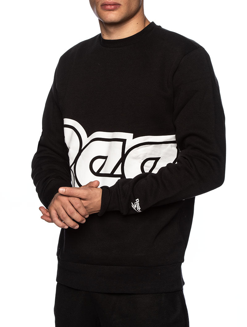 CLITL RED BUTTON CREW SWEATSHIRT IN BLACK