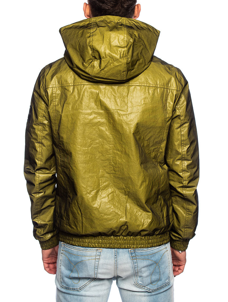 TWO TONED HOODED RAVE JACKET IN YELLOW