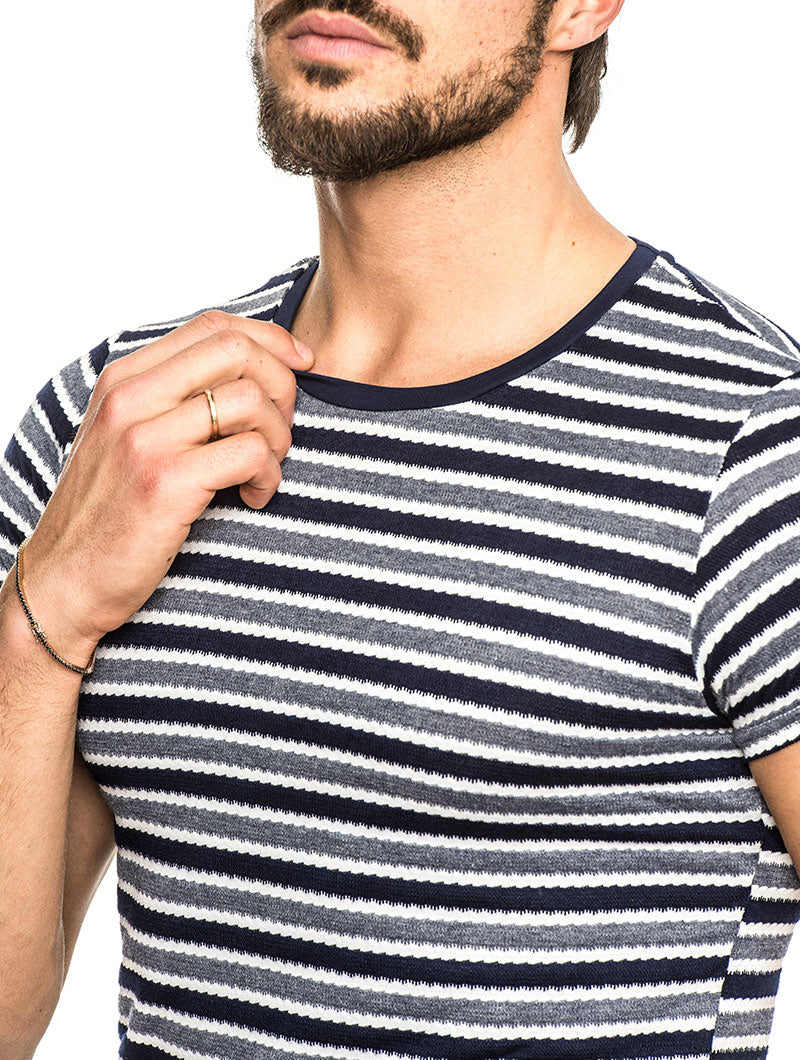 BILBEIS COTTON BLEND T-SHIRT IN BLUE