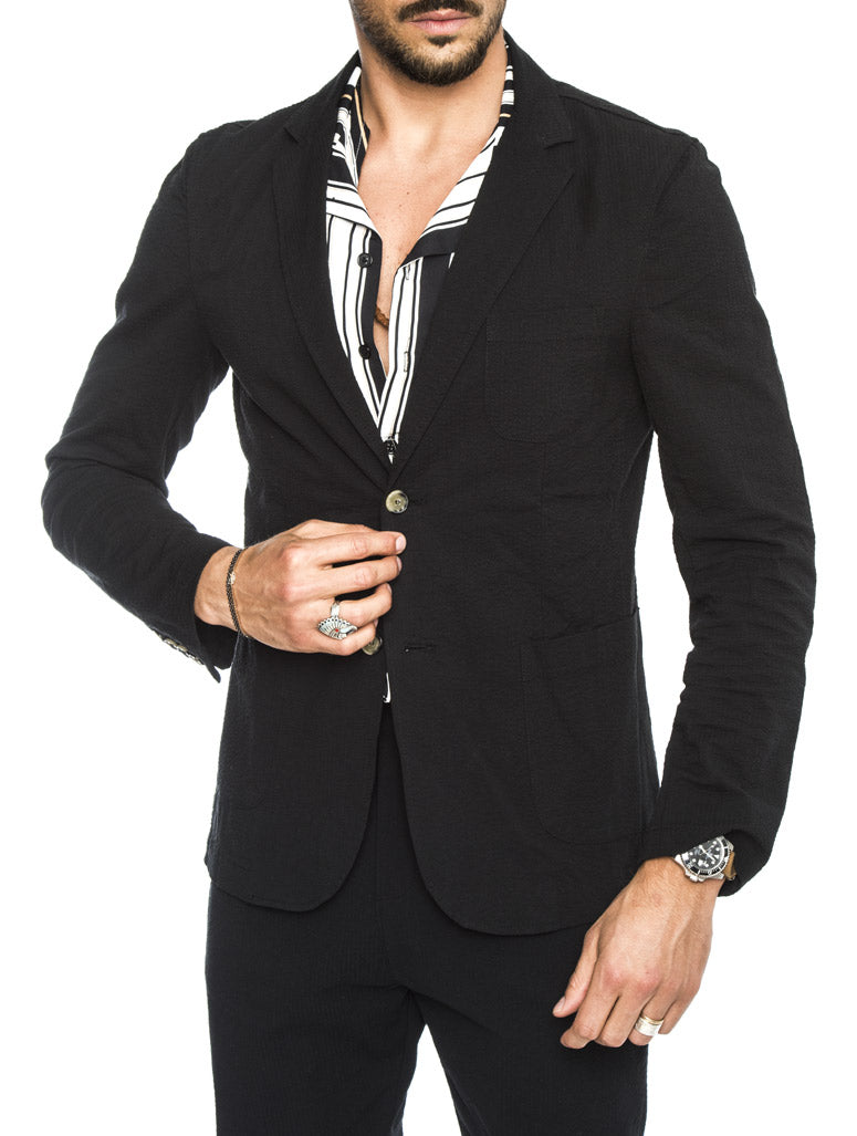DUBAI SEERSUCKER BLAZER IN BLACK