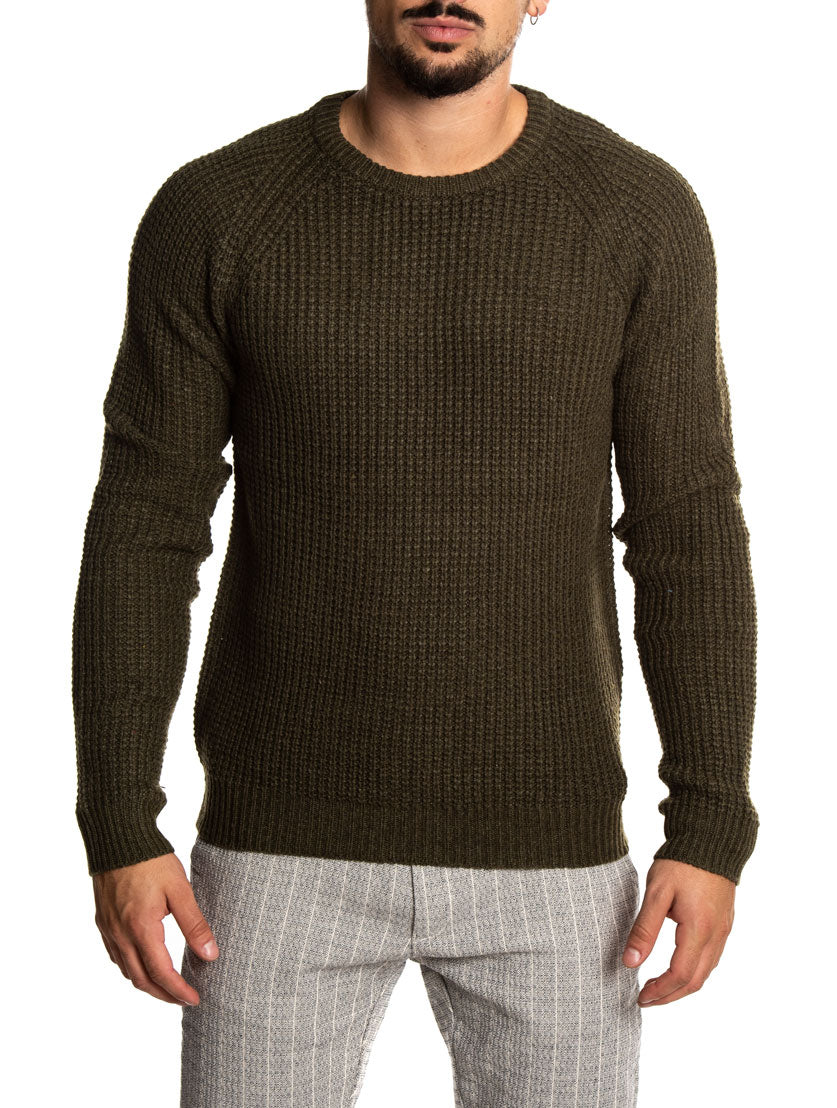 IRON Q3123 SWEATERS IN OLIVE GREEN