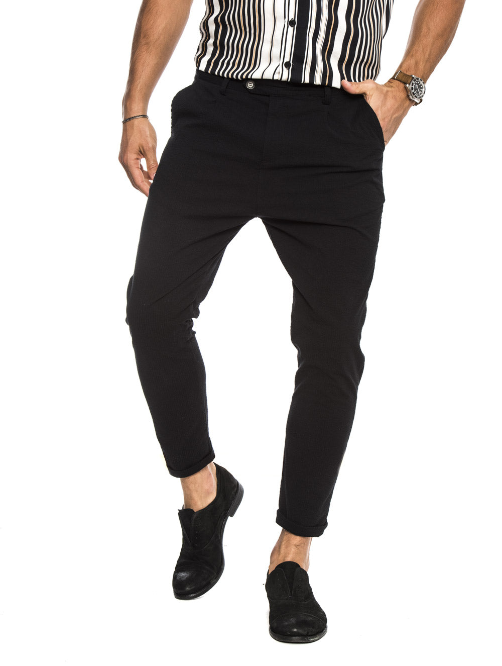 DUBAI SEERSUCKER TROUSERS IN BLACK