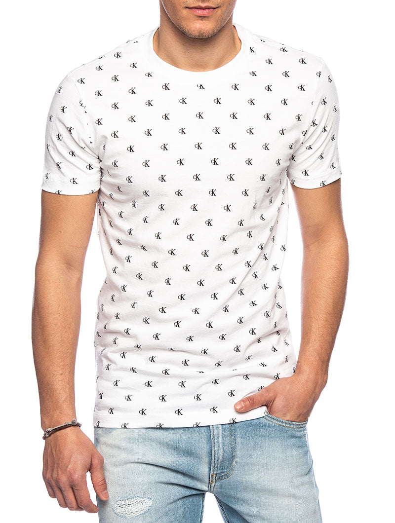 CK AOP SLIM T-SHIRT IN WHITE AND BLACK FANTASY