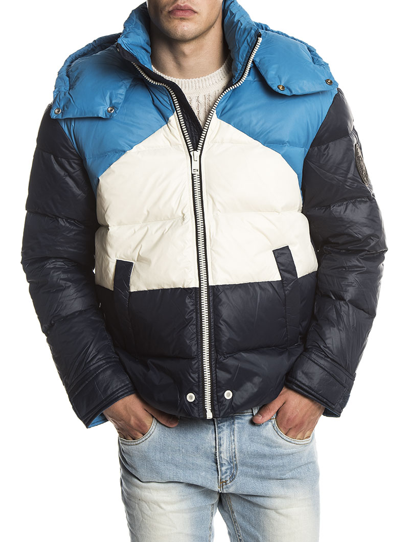 W SMITH DOWN JACKET IN WHITE AND BLUE