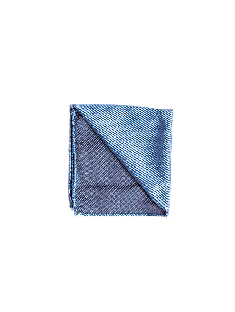 HERRINGBONE SILK TIE IN BRIGHT BLUE