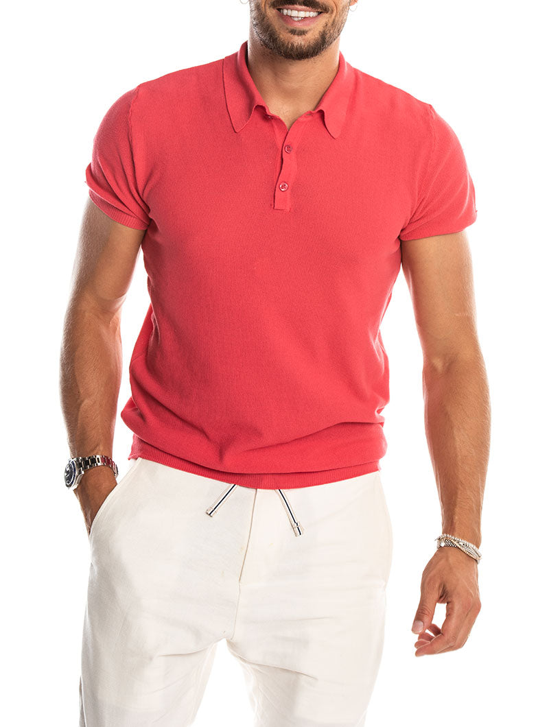 RIBES SHORT-SLEEVED POLO IN WATERMELON
