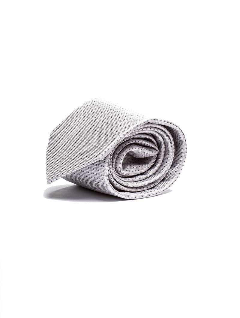 FOULARD PATTERNED NECKTIE IN SILVER