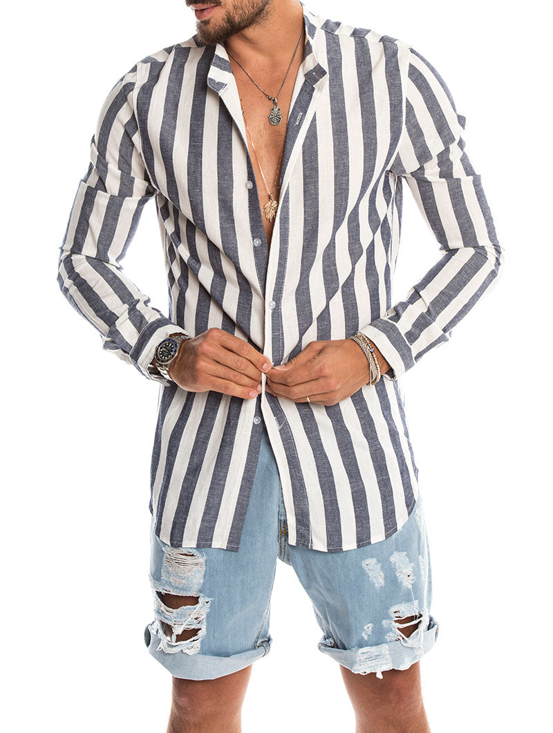 JACK KOREAN STRIPE SHIRT IN BLUE AND WHITE