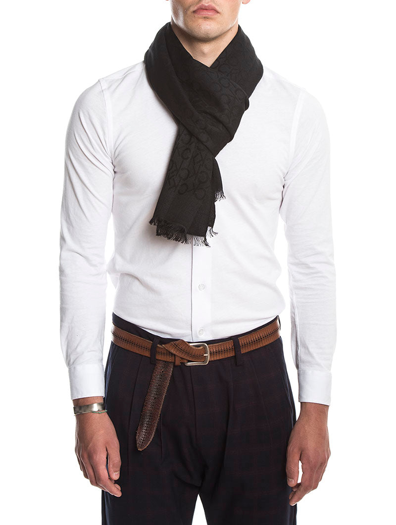 MONOGRAM JAQUARD SCARF IN BLACK