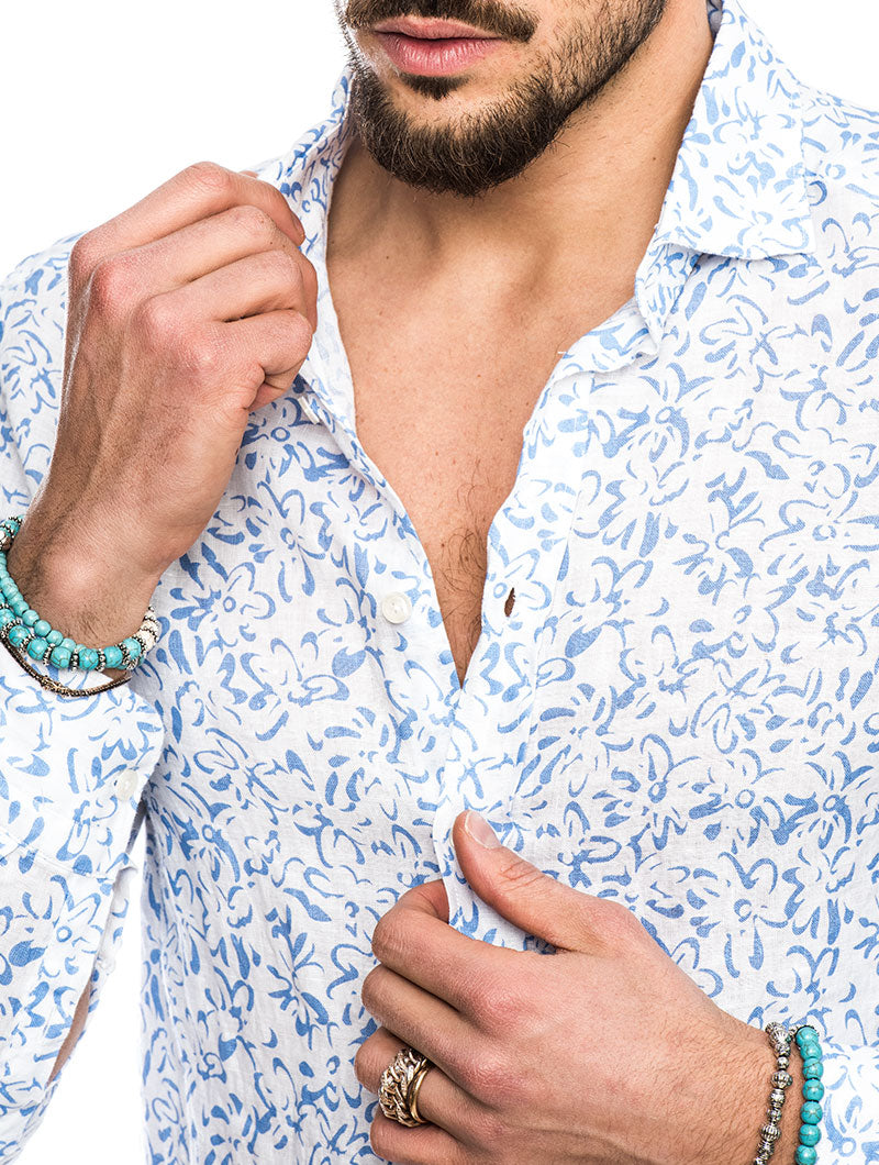 EOLO COTTON SHIRT IN FLOWER PRINT