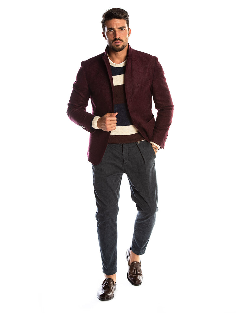 CHAD SINGLE BREASTED BLAZER IN BORDEAUX
