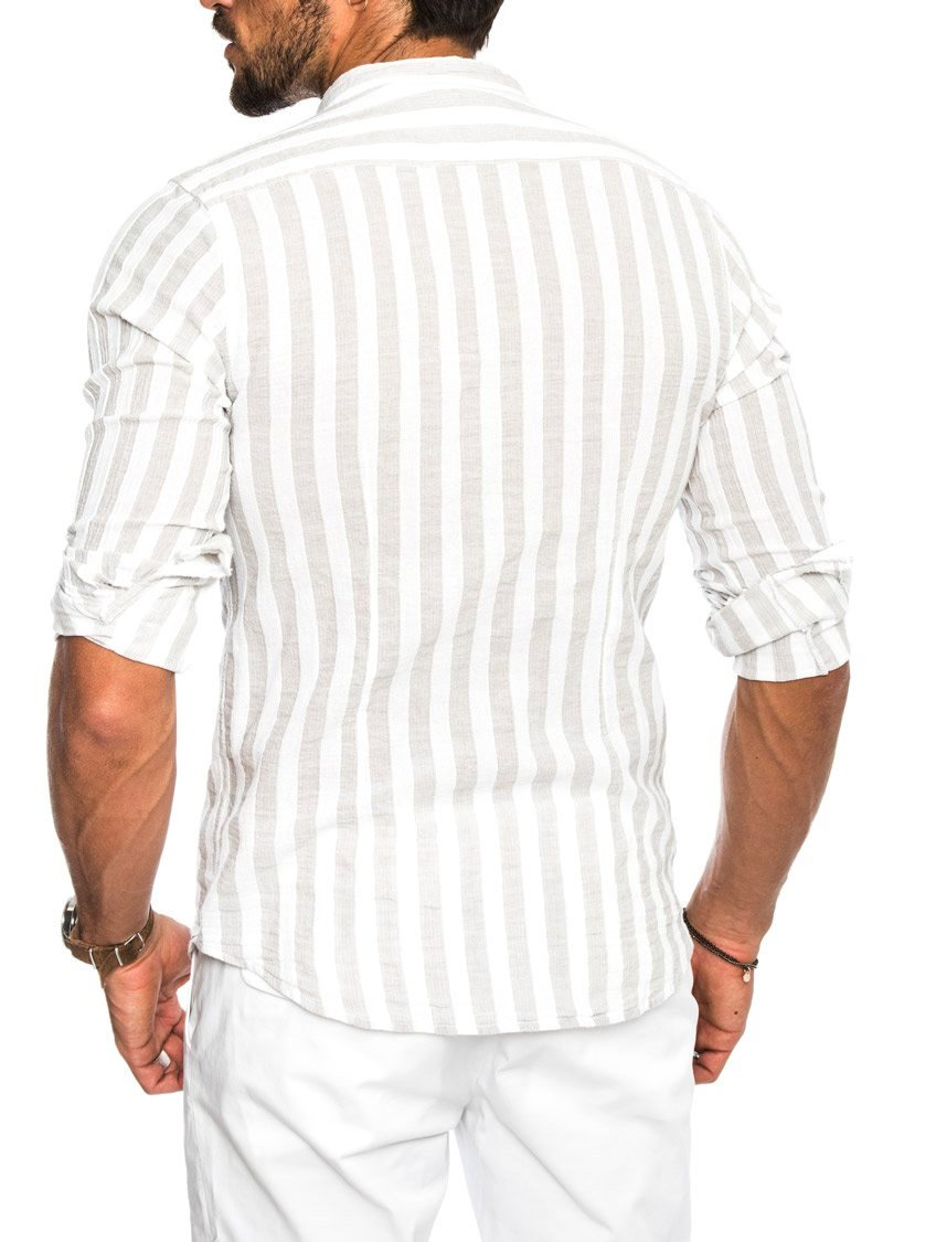 GREEK STRIPED SHIRT IN SAND