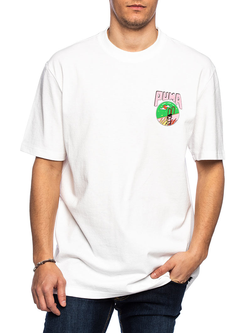 PUM DOWNTOWN GRAPHIC T-SHIRT IN WHITE