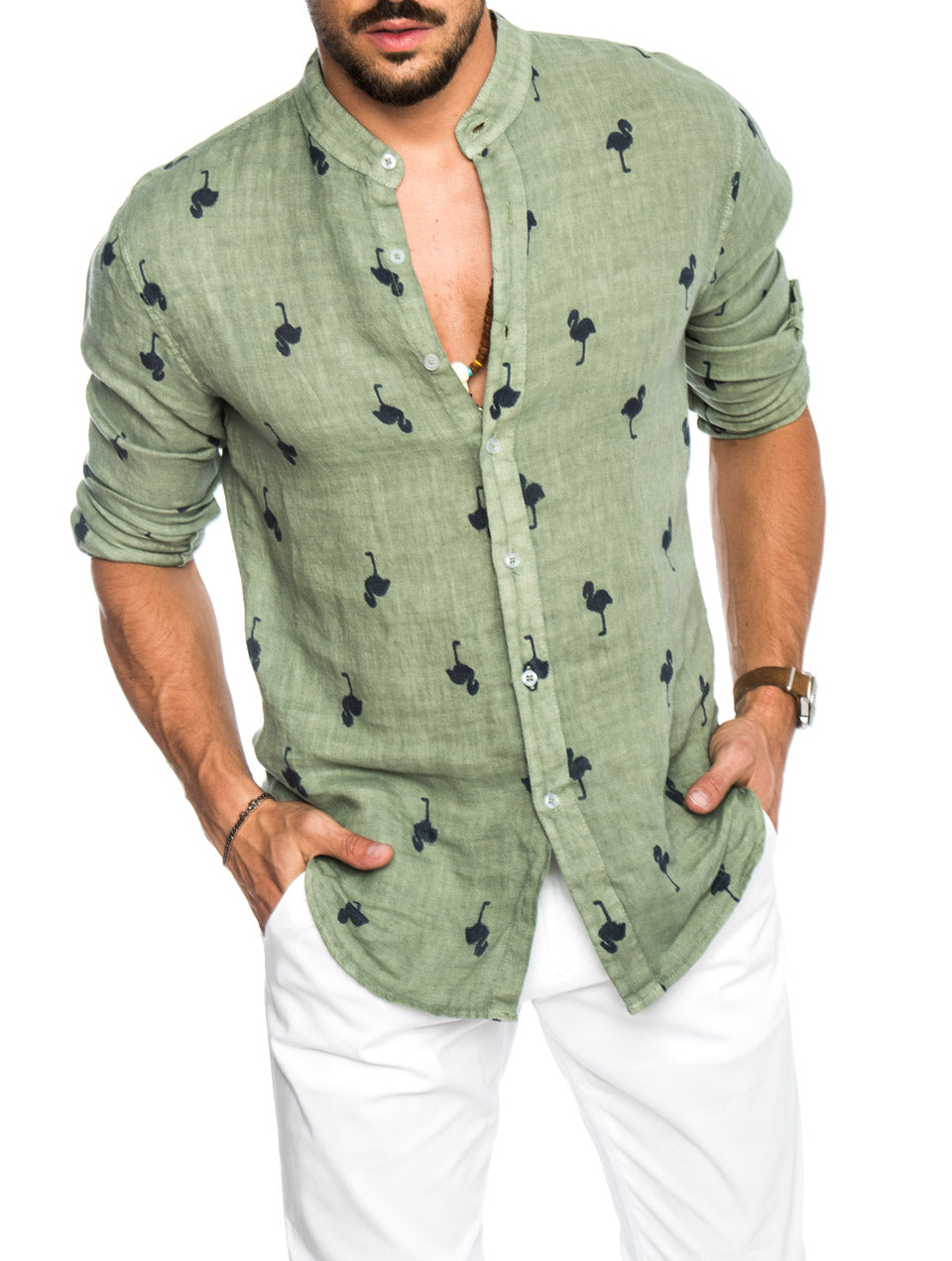 024224648 MEN'S CLOTHING | FLAMING COTTON SHIRT IN FOREST GREEN | NOHOW SUMMER ...
