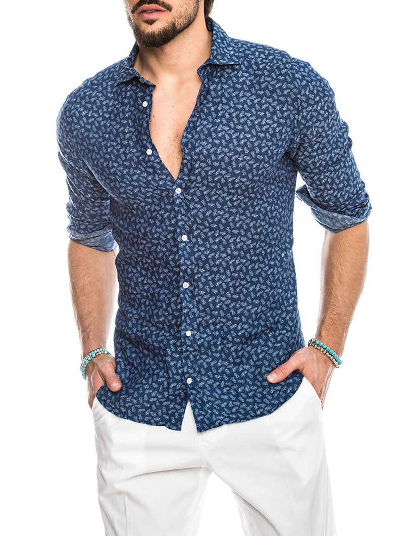 EOLO LINEN SHIRT WITH ANANAS PRINT IN BLUE
