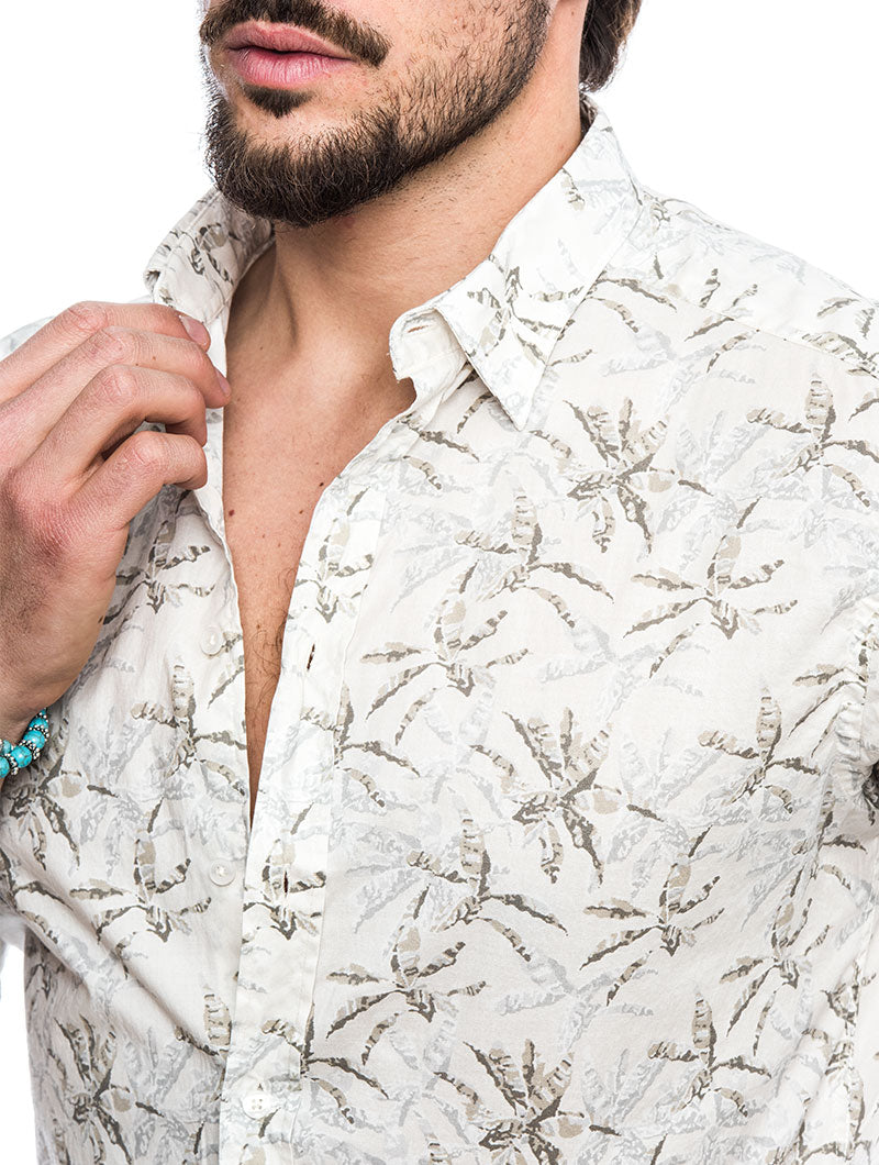 EOLO COTTON SHIRT IN PRINTED BEIGE