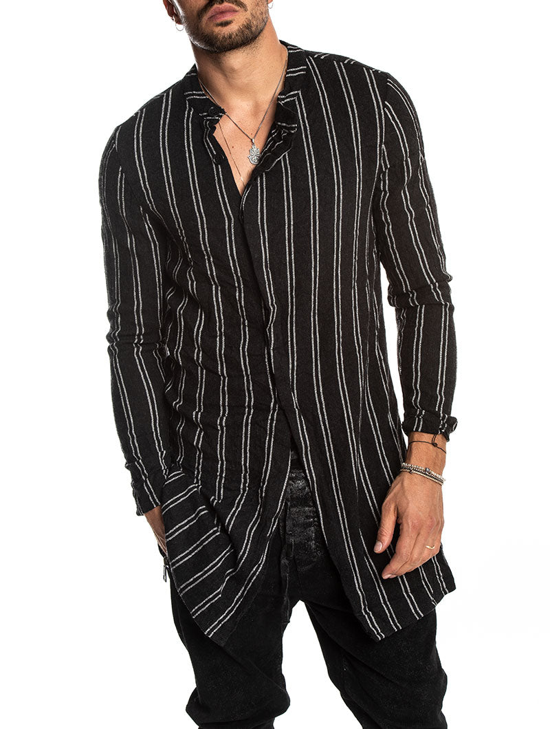 SPIKE STRIPED SHIRT IN BLACK AND WHITE