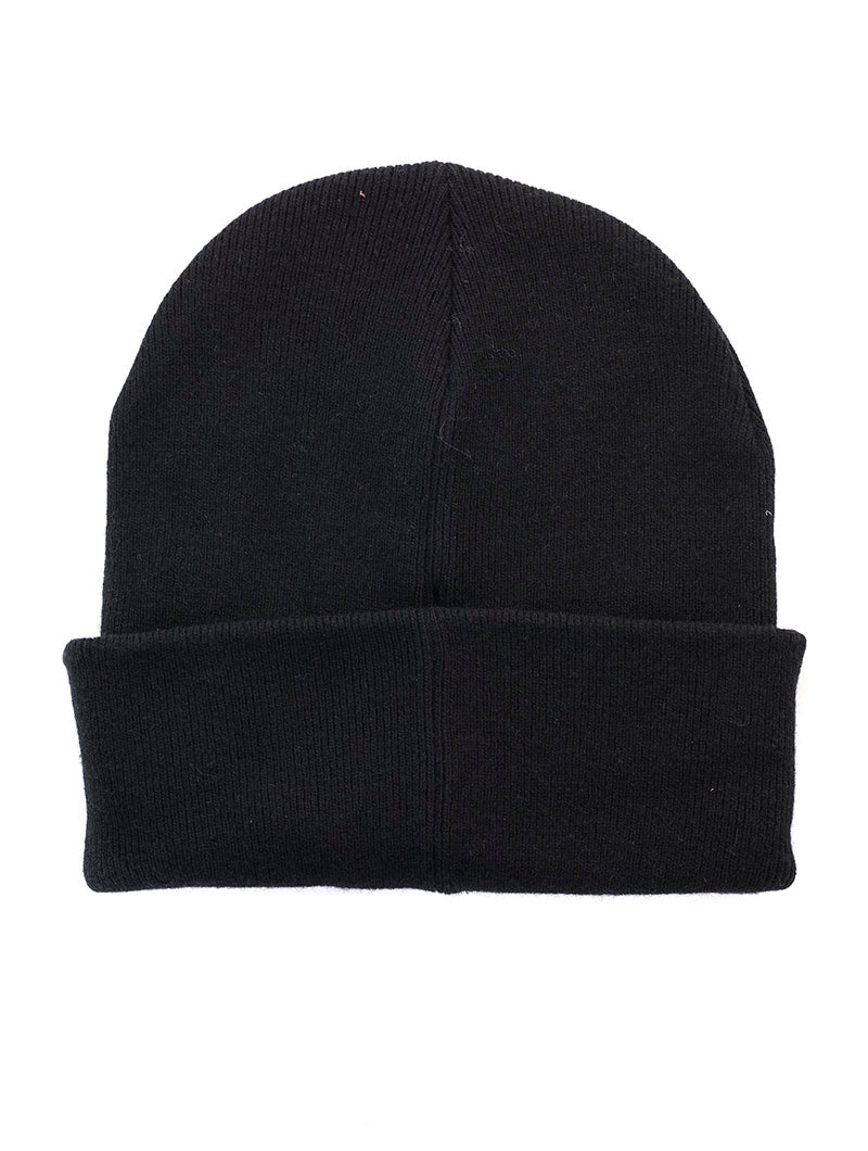 J BASIC MEN KNITTED BEANIE IN BLACK BEAUTY