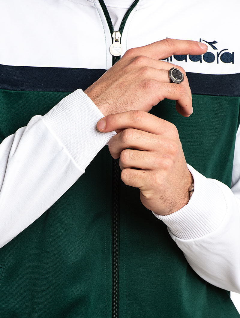 DIADORA TRACK JACKET IN GREEN AND WHITE