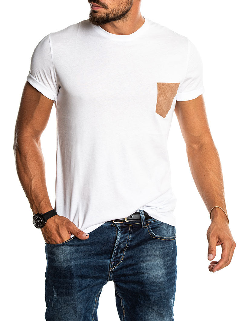 TORB T-SHIRT IN WHITE WITH LEATHER CAMEL POCKET