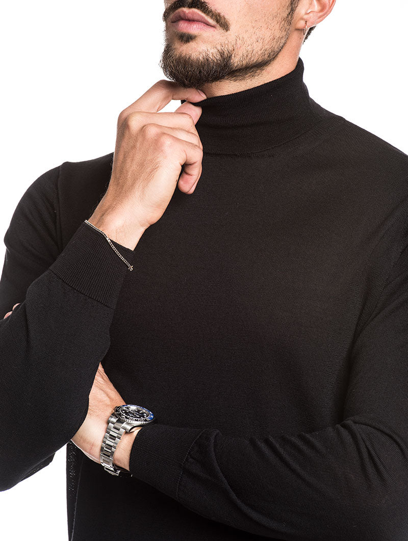 MEN'S CLOTHING | KOROS ROLL NECK JUMPER IN BLACK | NOHOW STREET COUTURE