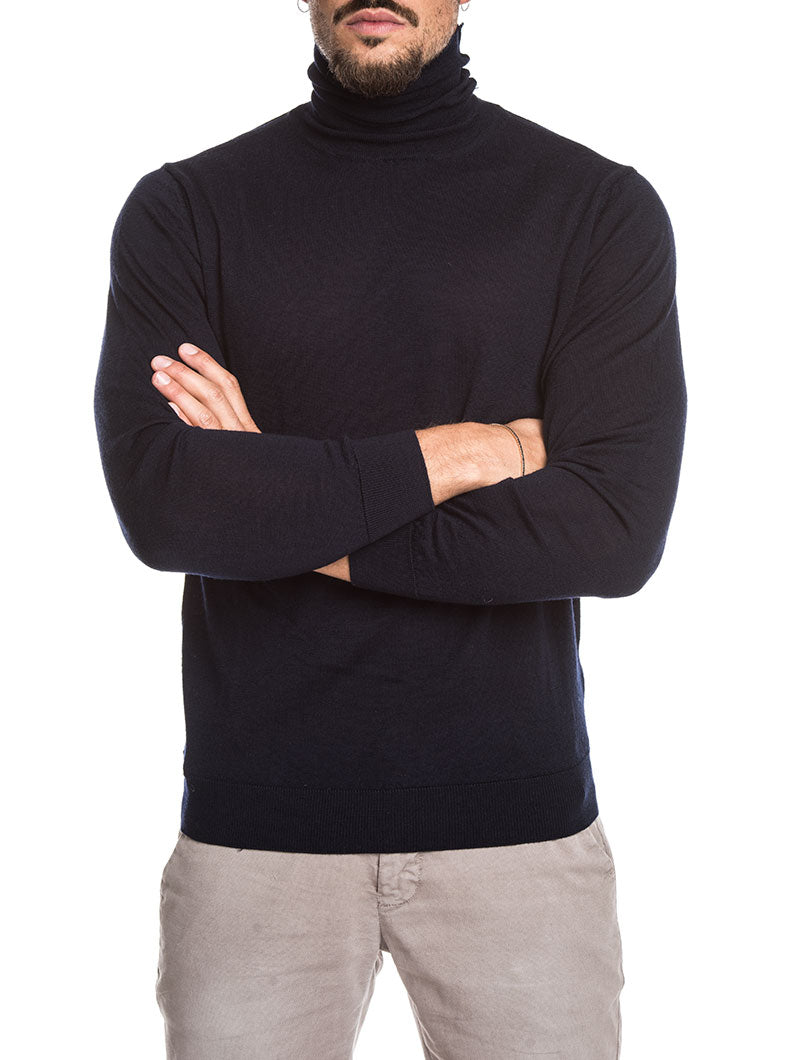MEN'S CLOTHING | KOROS ROLL NECK JUMPER IN BLUE NAVY | NOHOW STREET COUTURE