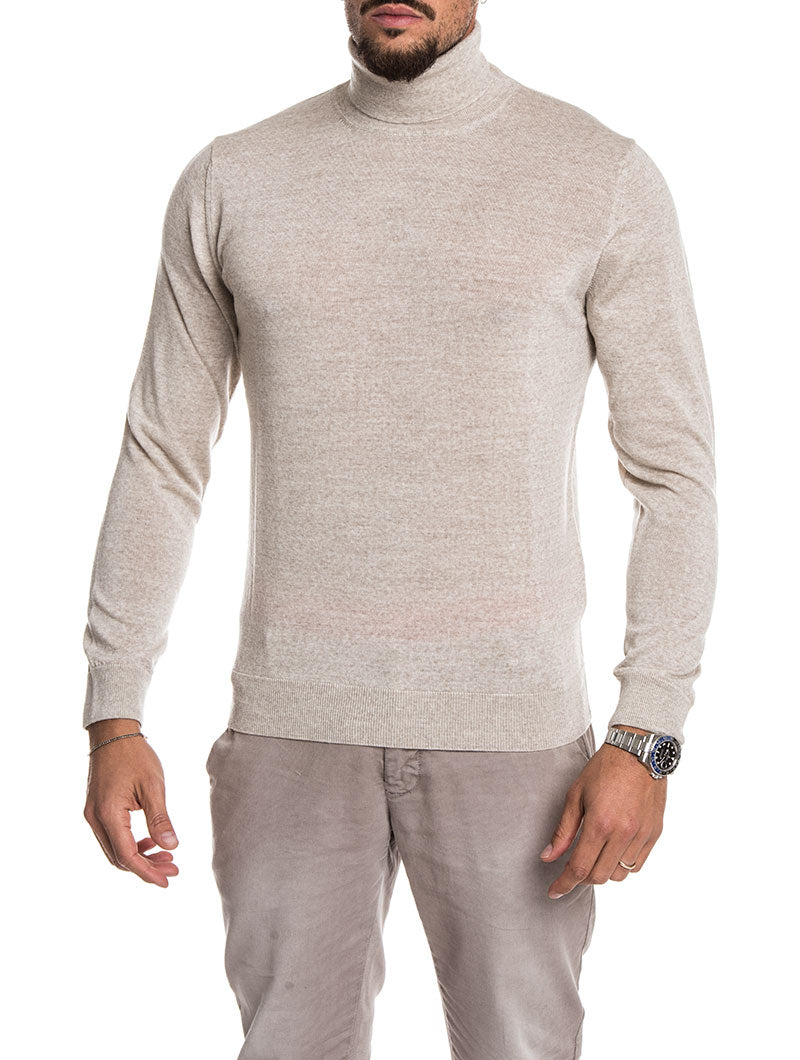 MEN'S CLOTHING | KOROS ROLL NECK JUMPER IN BEIGE | NOHOW STREET COUTURE