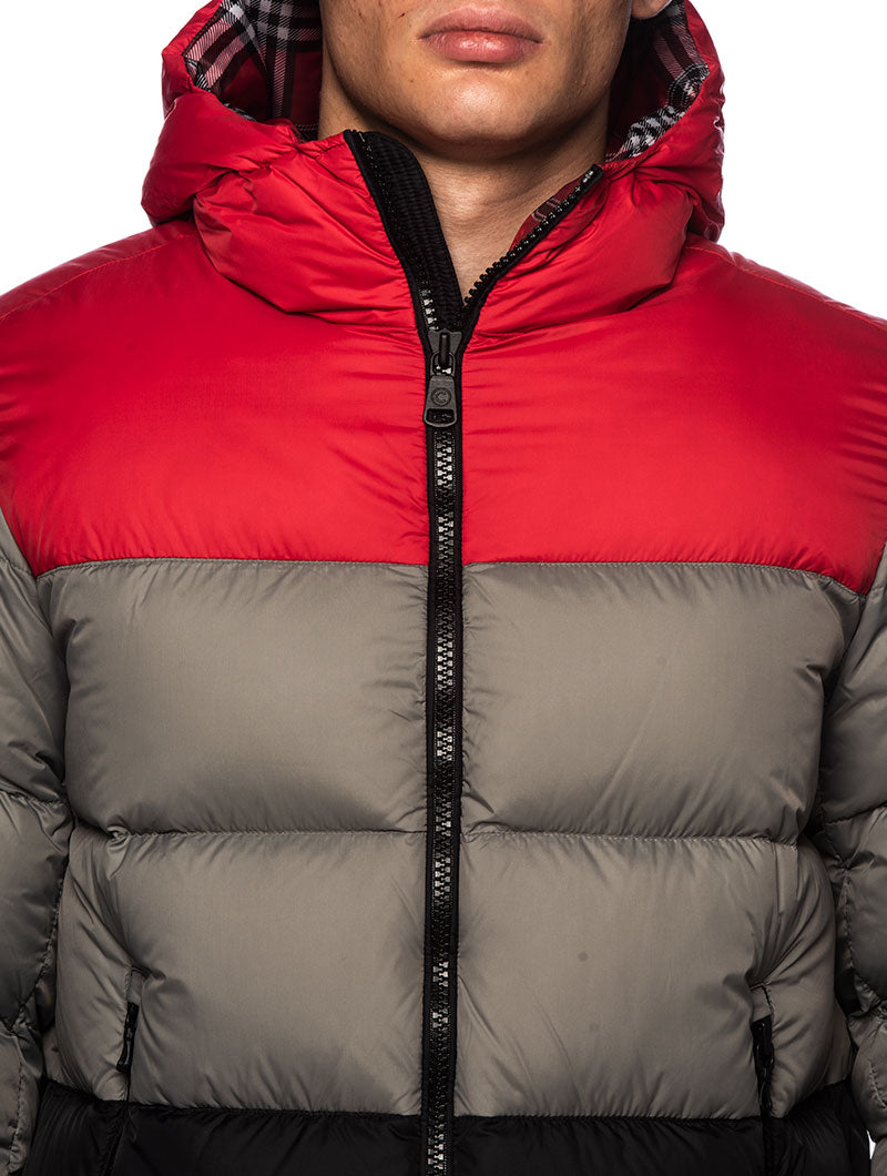 HONOR DOWN JACKET IN GREY, BLACK AND RED