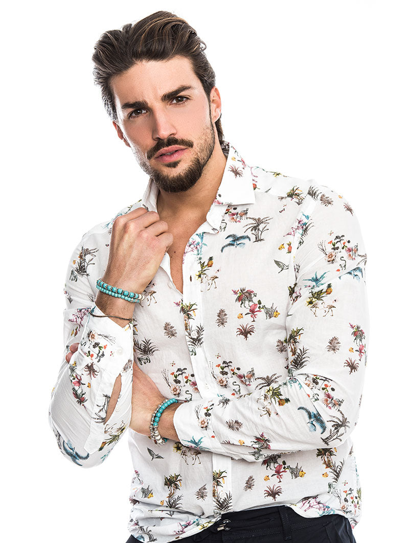 EOLO COTTON SHIRT IN WHITE SPRING FLOWERS