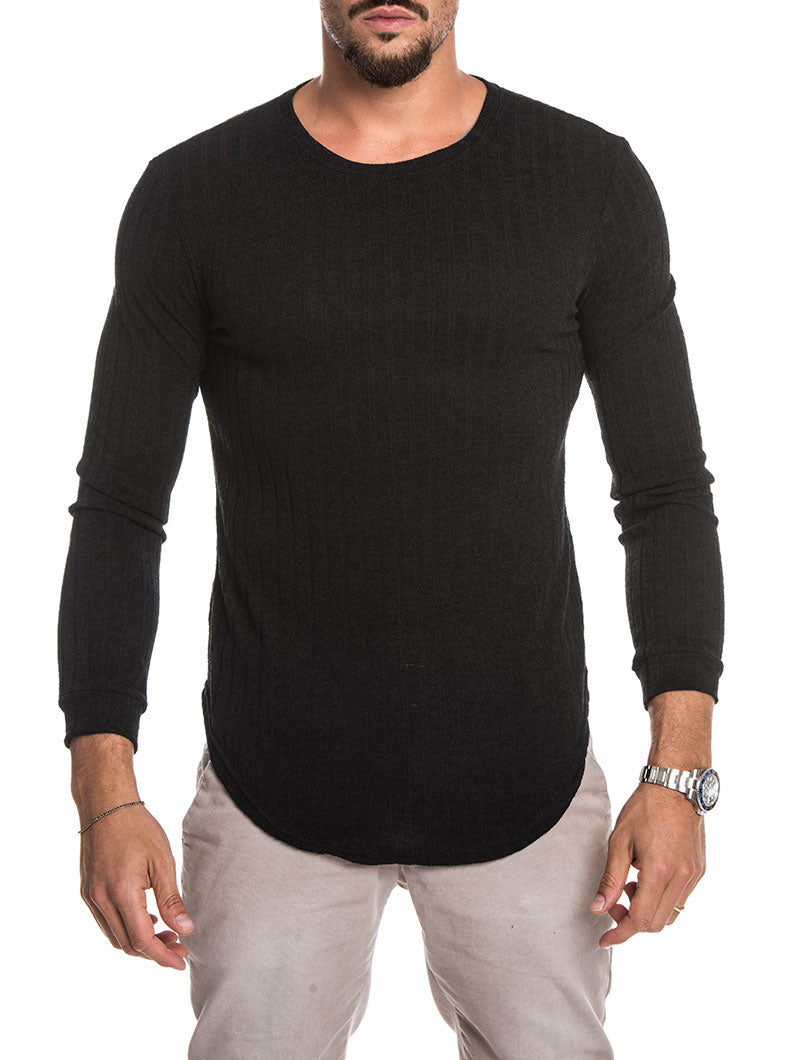 BLACK LONG SLEEVED CREW NECK T-SHIRT