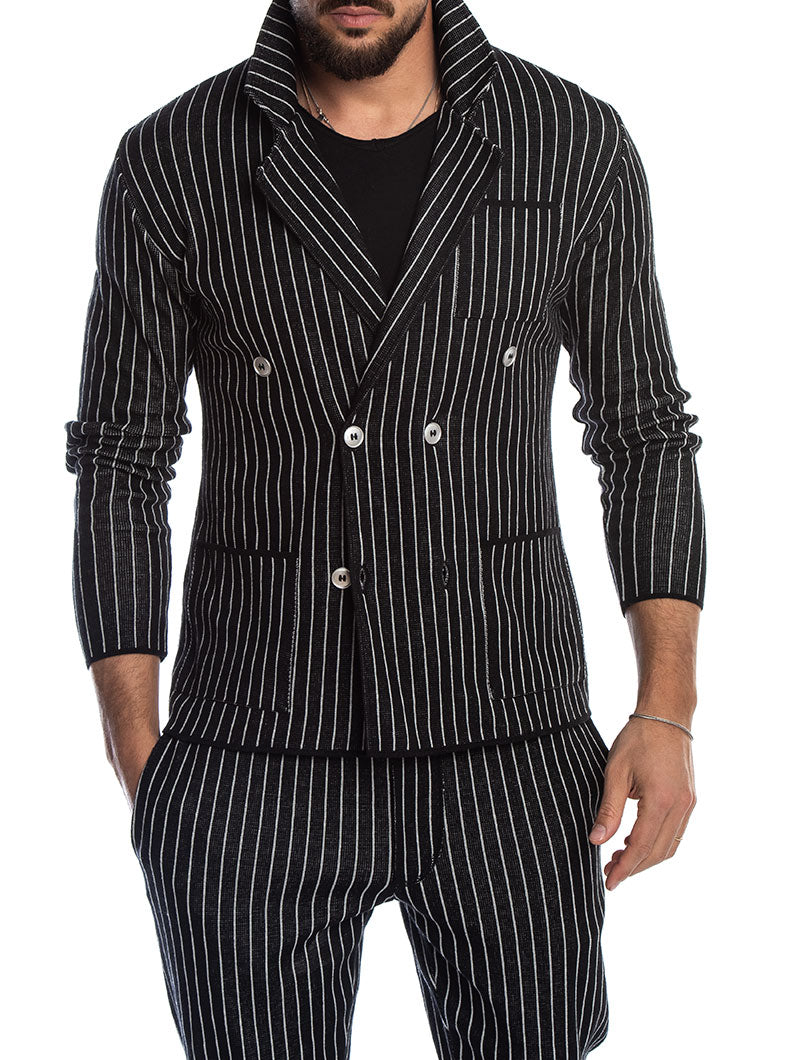 SABURO DOUBLE BREASTED BLAZER IN BLACK AND GREY