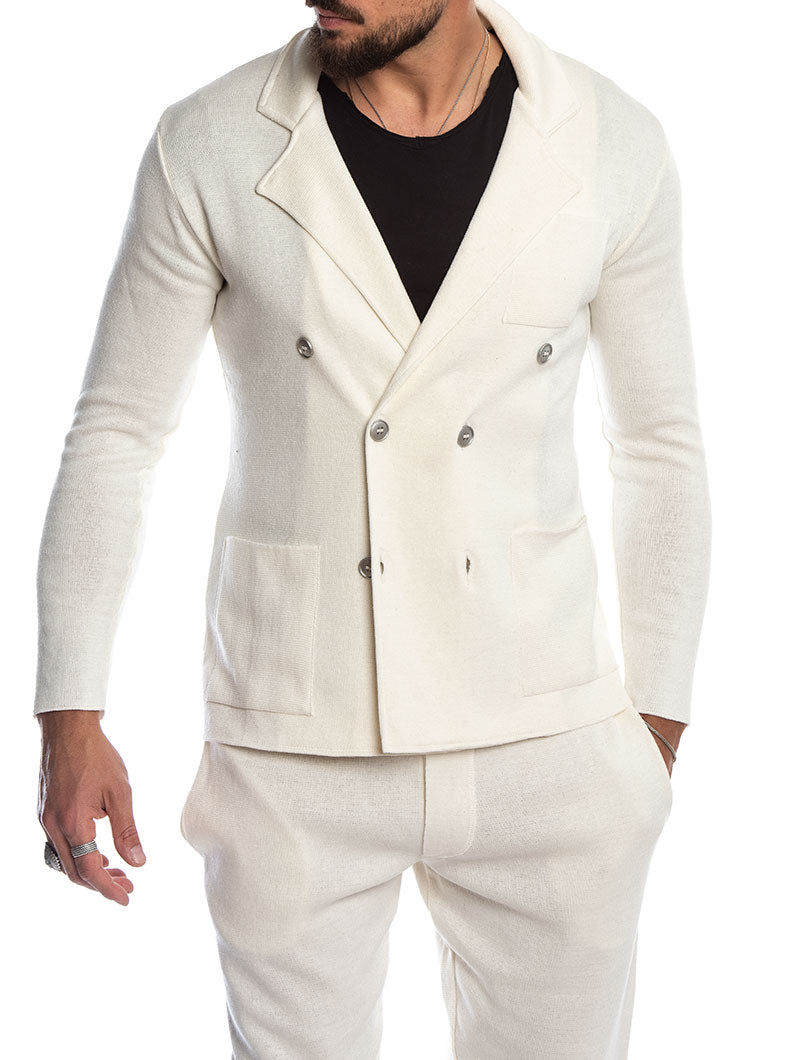 SABURO DOUBLE BREASTED BLAZER IN CREAM