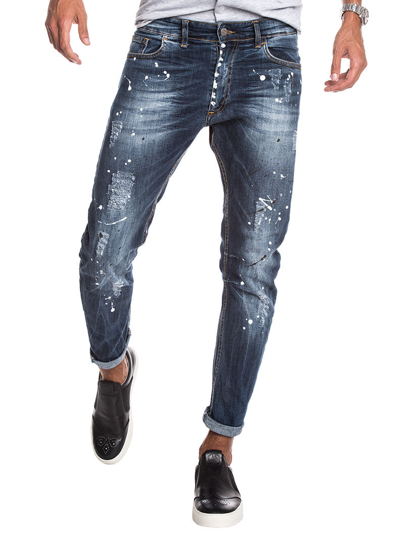 MEN'S CLOTHING   DISTRESSED TAPERED JEANS   SKINNY FIT   NOHOW