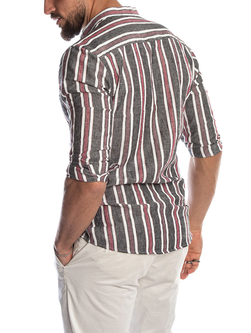 DAKAR LINEN SHIRT IN STRIPED GREY AND RED