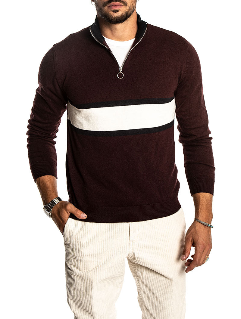 LORES SWEATER IN BORDEAUX AND NAVY