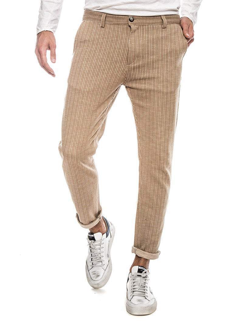 ANUBIS COTTON TROUSERS IN STRIPED MUD