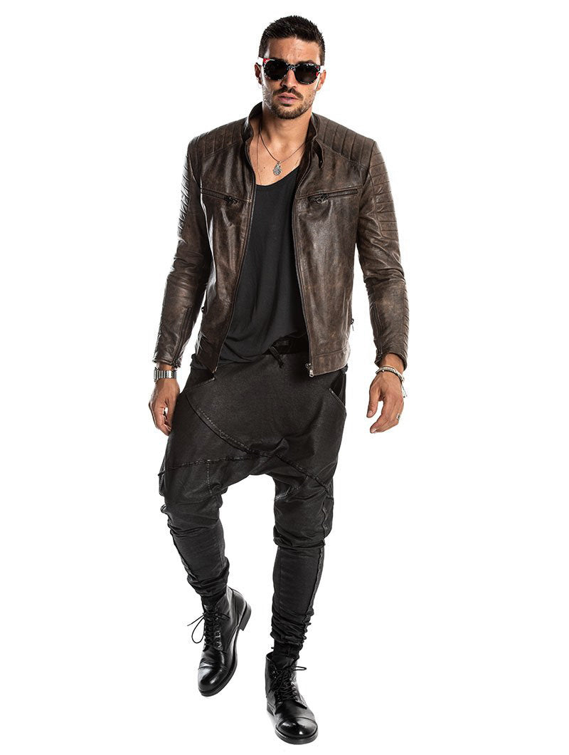 BLADE LEATHER JACKET IN BROWN