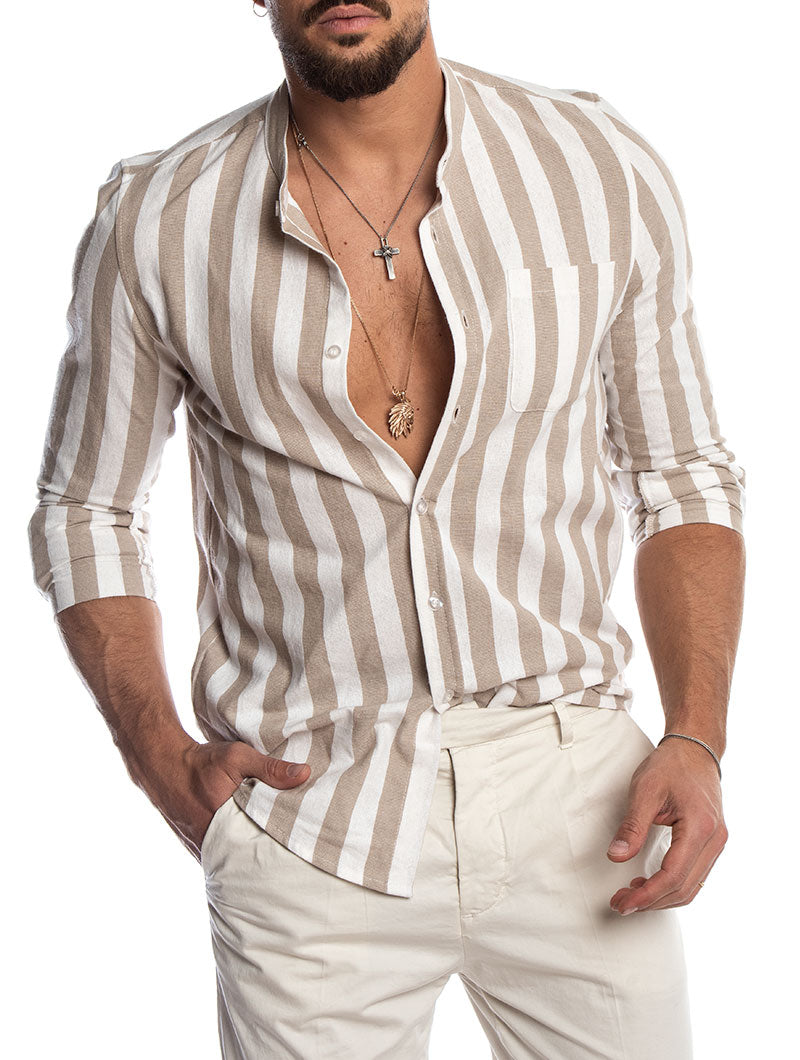 b239ab1d1 Men's Korean shirt in Beige and White – Nohow Style