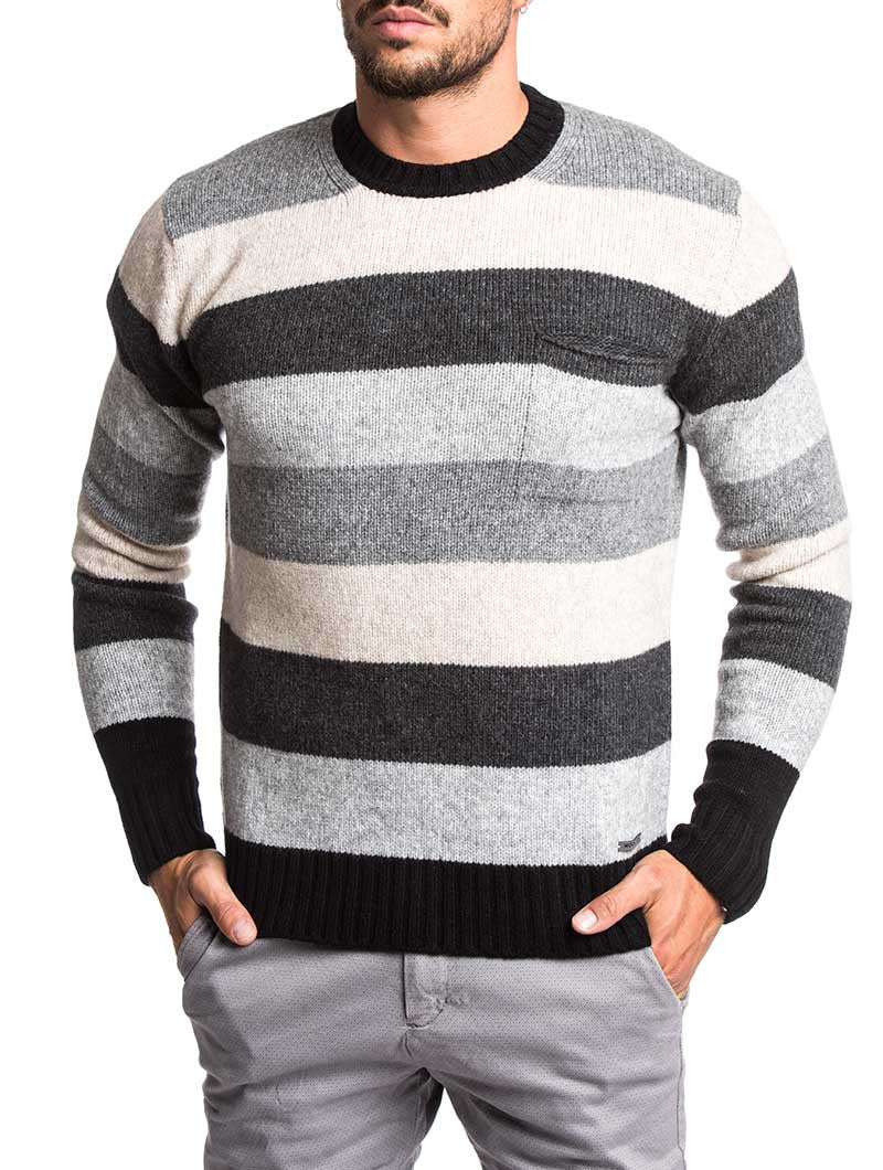 a68d1490 MEN'S CLOTHING | AIR WOOL CREW NECK SWEATER | KNITTED JUMPER | COLOR-BLOCK  |. Tap to expand