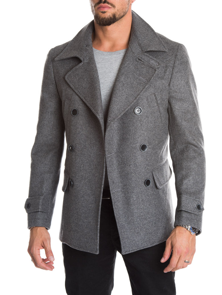 MEN'S CLOTHING | AHAB PEACOAT IN GREY | DOUBLE BREASTED | HIP LENGTH | SLIM FIT | NOHOW STYLE TEAM