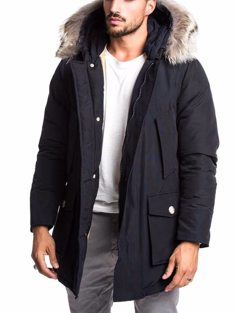 MEN S CLOTHING   ARCTIC PARKA DF   REGULAR FIT   MELTON BLUE   WOOLRICH 135d6e0ccd