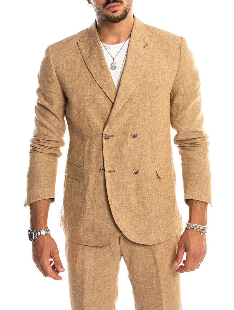 TELLUS LINEN DOUBLE BREASTED BLAZER IN SAND
